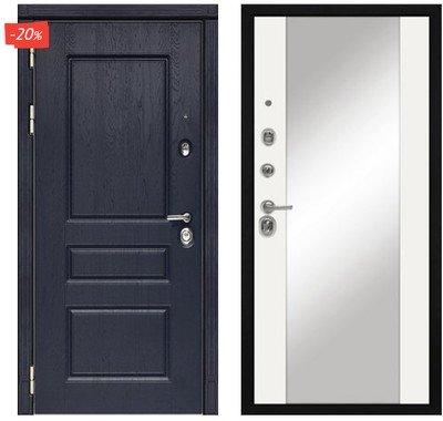 Дверь входная МД-45 - Белый Софт (Зеркало)