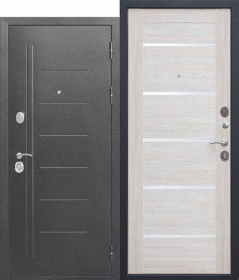 Дверь входная 10 см Троя Серебро Лиственница беж Царга