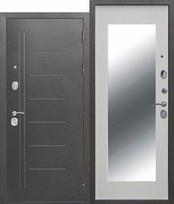 Дверь входная 10 см Троя серебро MAXI зеркало Белый ясень