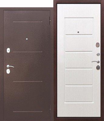 Дверь входная 7,5 см Гарда медный антик Белый ясень