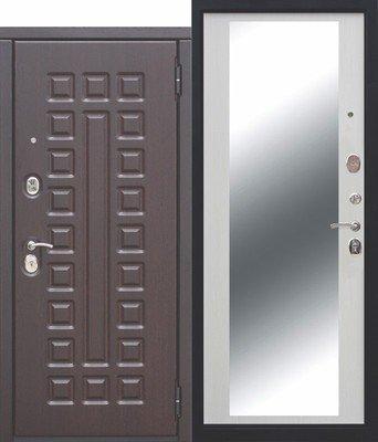 Дверь входная 10 см Монарх зеркало Белый ясень