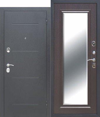 Дверь входная 7,5 см Гарда Серебро Зеркало фацет Венге