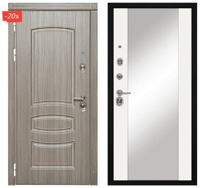 Дверь входная МД-42 - Белый Софт (Зеркало)