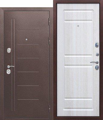 Дверь входная 10 см Троя медный антик Белый ясень