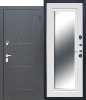 Дверь входная 7,5 см Гарда Серебро Зеркало фацет Белый ясень