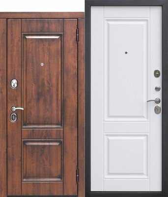 Дверь входная 9,5 см Вена Винорит Патина мдф/мдф Белый матовый