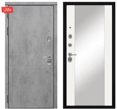 Дверь входная МД-48 - Белый Софт (Зеркало)