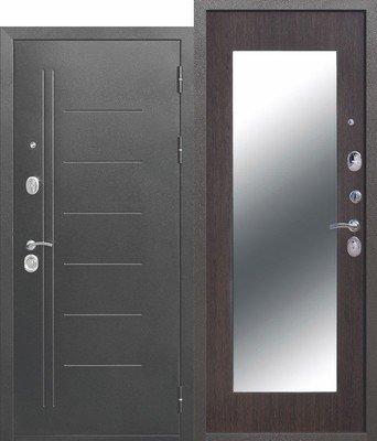Дверь входная 10 см Троя серебро MAXI зеркало Венге