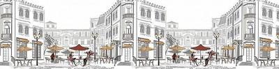 Фартук для кухни «Уличное кафе»